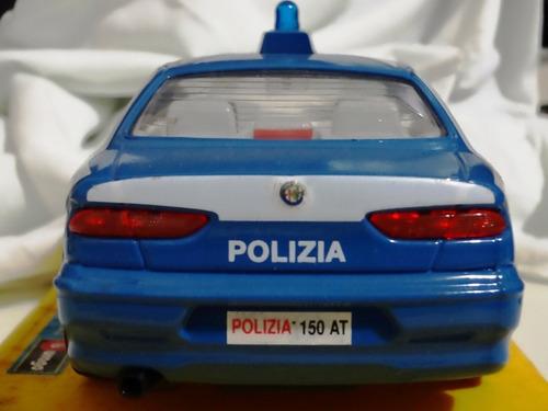 miniatura burago alfa romeo policia da italia escala 1:24
