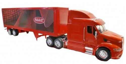 miniatura caminhão peterbilt 387 carreta vermelho 1/32
