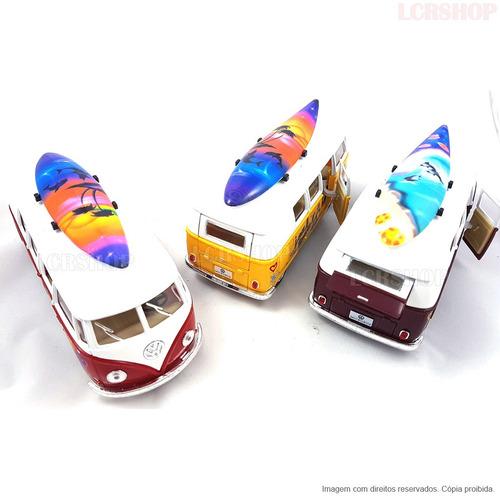 miniatura carrinho kombi prancha de surf pneus borracha br63