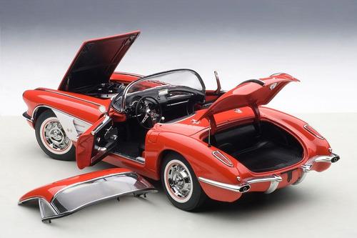 miniatura chevrolet corvette 1958 red autoart 1/18