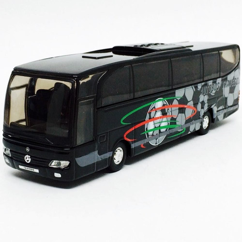 miniatura de ônibus mercedes benz travego preto 1:60 welly