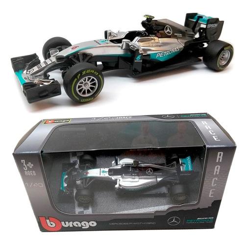 miniatura f1 mercedes racing team 1:43 rica detalhe burago