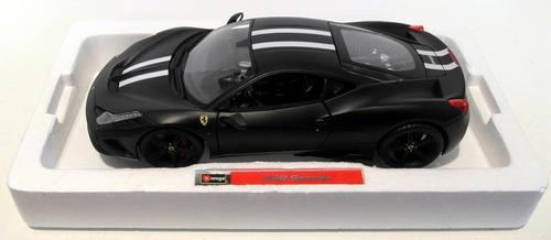 miniatura ferrari 458 speciale preto 1:18 bburago