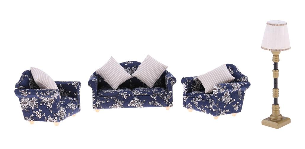 casa de muñecas en miniatura Floral sillón con dos cojines