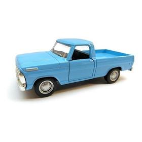 Miniatura Ford F100 68 Azul Colecao Carro Antigo Brasileiro