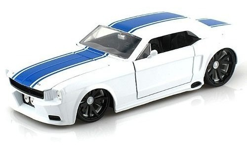 miniatura ford mustang 1965 branco e azul 1:24 jada