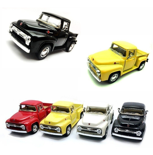 miniatura ford pickup f-100 1956 kit com 4 unidades metal