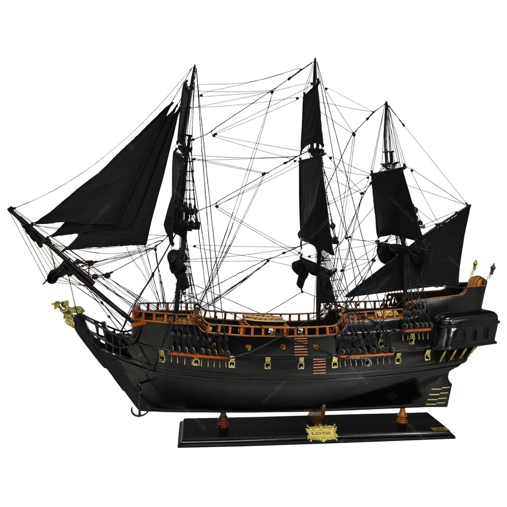 miniatura fragata black pearl grande em madeira 120x90. Black Bedroom Furniture Sets. Home Design Ideas