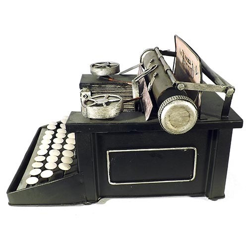 miniatura máquina escrever antiga envelhecida metal