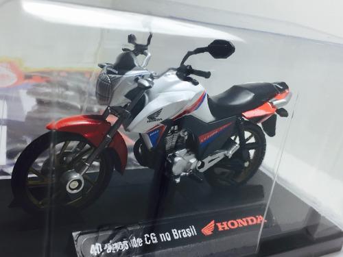 miniatura moto honda cg 150cc 1/18 (cg 40 anos - duas rodas)