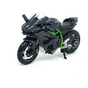 Miniatura Moto Kawasaki Ninja H2r Preta / Verde 1:18 Maisto