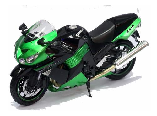 miniatura moto kawasaki zx-14 verde 2011  1/12