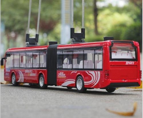 miniatura ônibus articulado elétrico(trólebus) metal esc1:50