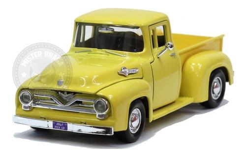 miniatura pickup ford f-100 1955 amarela motormax 1/24