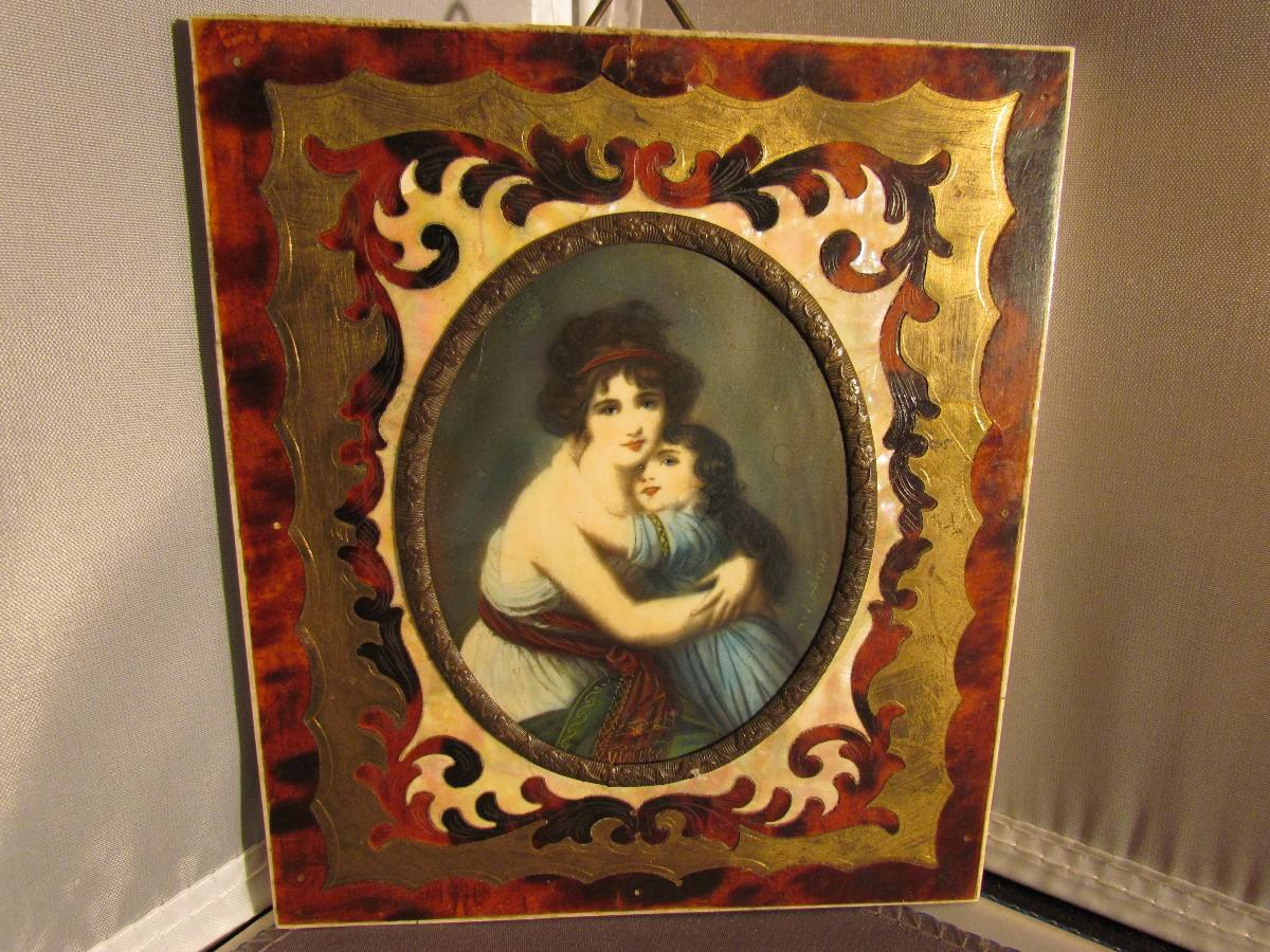 Miniatura Pintada A Mano Con Marco De Carey, Nacar Y Bronce ...
