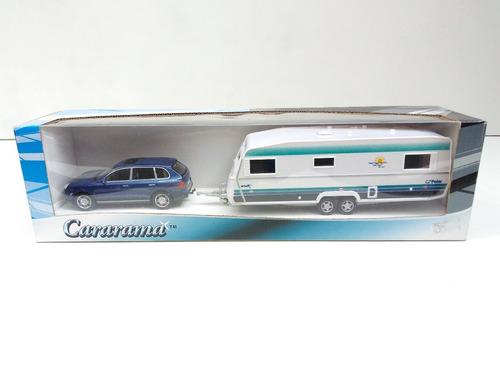 miniatura porsche cayenne com trailer escala 1:43 na caixa