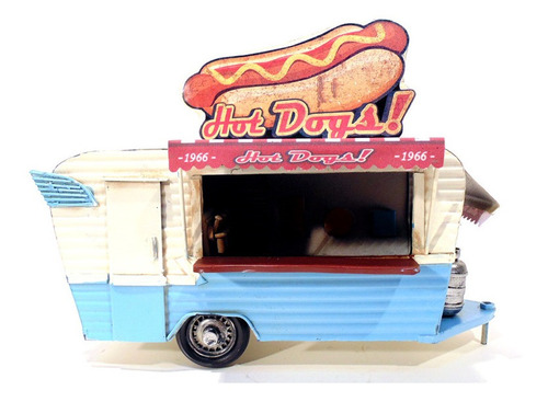 miniatura trailer food truck hot dog retrô 1306