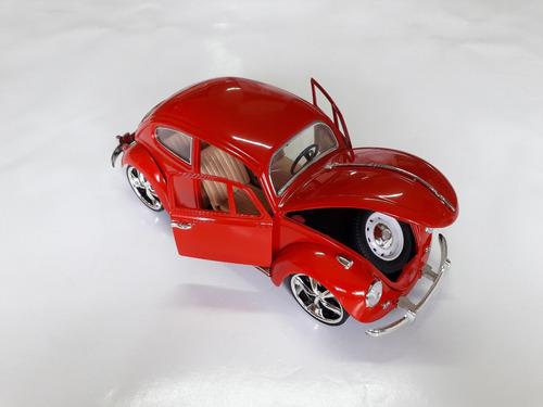 miniatura volkswagen fusca vermelho 1/18 metal