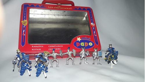 miniaturas cavaleiros medievais mini papo c/ maleta original