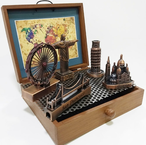 miniaturas com 5 monumentos do mundo - london eye em metal