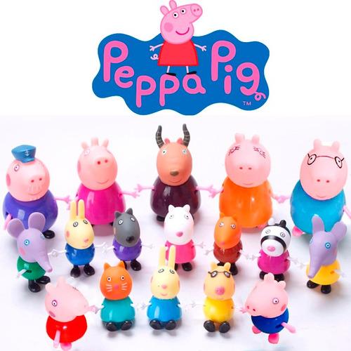 miniaturas família peppa pig e sua turma - kit completo