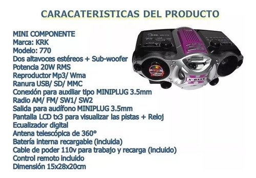 minicomponente reproductor usb fm am radio sd krk-770 nuevo
