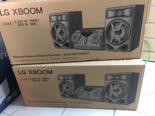 minicomponente xboom lg ck43 lg 300w bluetooth cd usb mp3