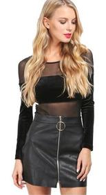 fina artesanía cupón doble oferta especial Minifalda Falda Negra Simulacion Cuero Con Cremallera