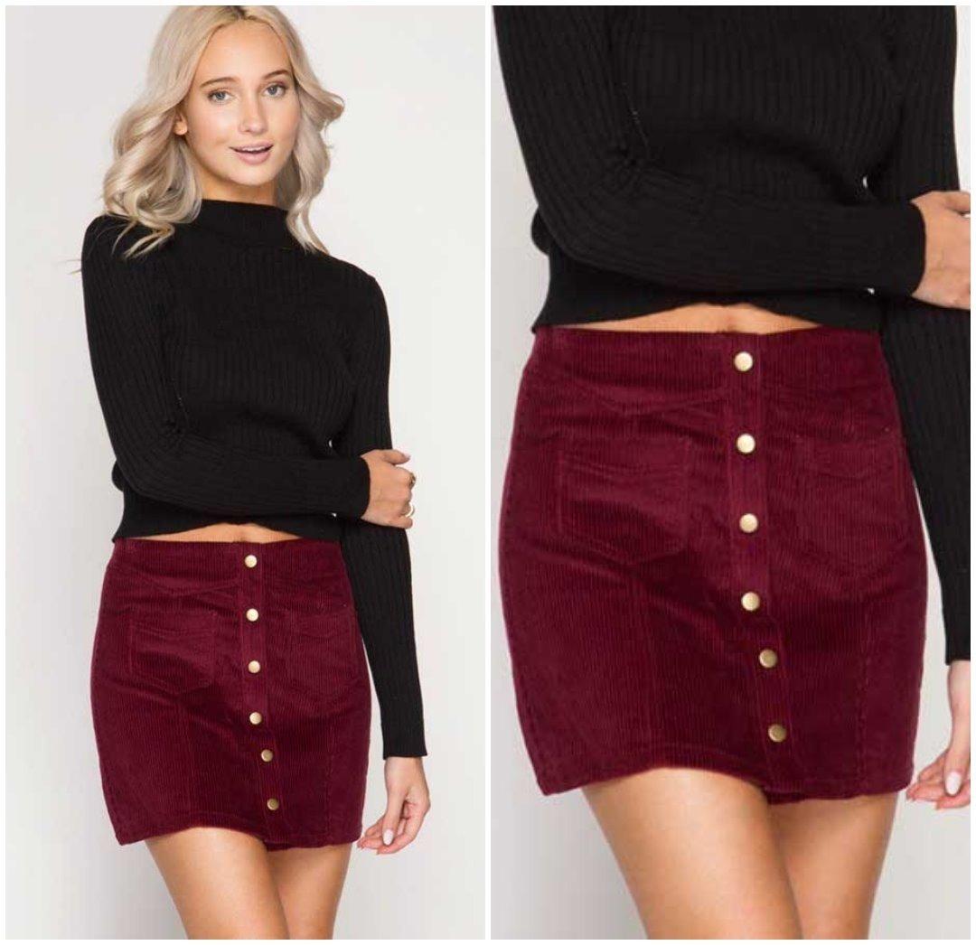 venta caliente barato última tecnología calidad de marca Minifalda Falda Pana Vinotinto Envio Inmediato