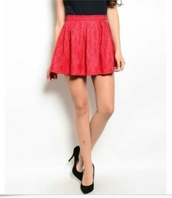 1c5ace7e1 Minifalda Pollera Encaje Rojo A 170