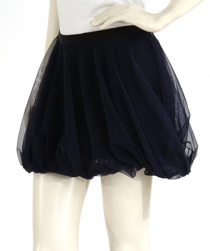 minifalda tul azul marino, cinto negro, cierre haute hippie