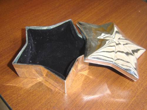 minijoyero forma estrella plateado guarde collares pulseras