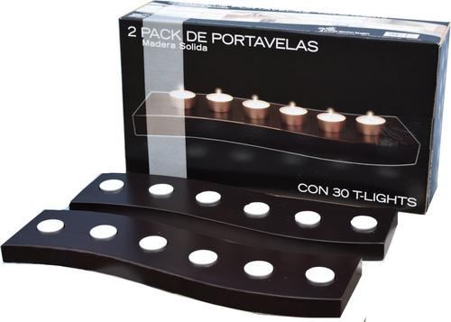 minimalista  2 pack porta velas de madera hogare