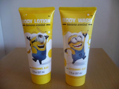 minions loción crema corporal o gel de ducha. dia del niño