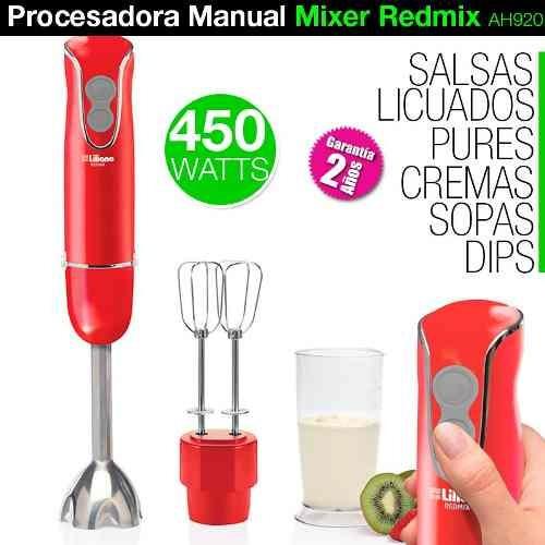 minipimer manual liliana ah120 mixer redmix procesadora