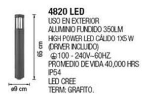 miniposte grafito exterior led 7w 100-240v luz calida a piso