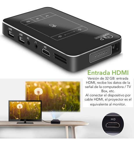 miniproyector profesional android dlp 300 ansi lumens wifi funcion espejo compatible con iphone y android