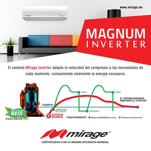 minisplit inverter mirage 2ton. 220v magnum 17 solo frio