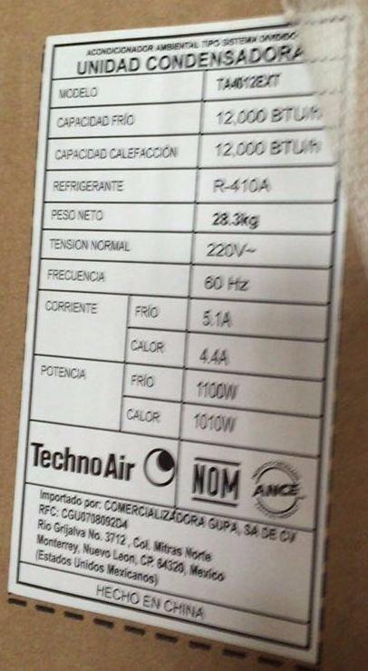 Minisplit Inverter Technoair Aire Acond 1 Tonela Frio