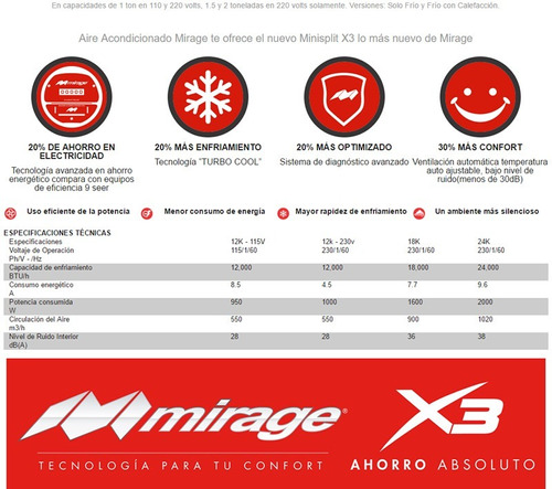 minisplit mirage x3 24000 btu 2 ton 220 v pago