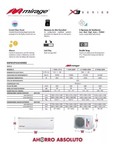 minisplit mirage x3 frio/calor