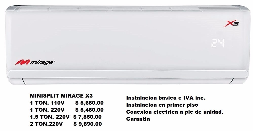 Minisplit Mirage X3 Super Precio 4 880 00 En