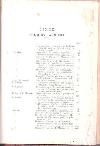 ministerio de agricultura - boletín año 1913 - tomo x v
