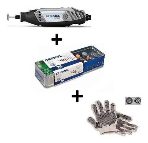 minitorno dremel 3000 c/10 acces + kit 75 acces + guantes