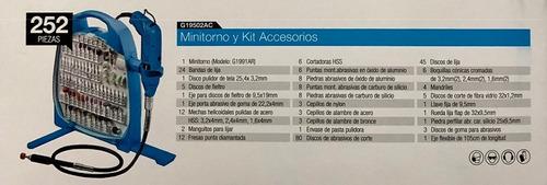 minitorno gamma 130w maletin kit 252 piezas g19502ac