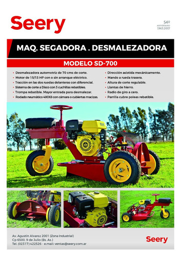 minitractor corta pasto seery industria argentina