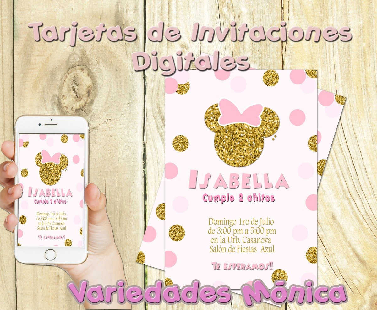 Minnie Dorado Tarjeta De Invitación Digitales Personalizadas