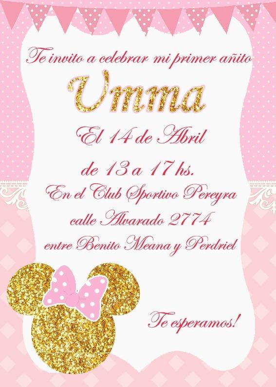 Minnie Dorado Tarjeta Invitación Digital Imprimible Whatsap