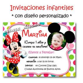 Minnie Mouse 25 Invitaciones Personalizadas Cartel Regalo