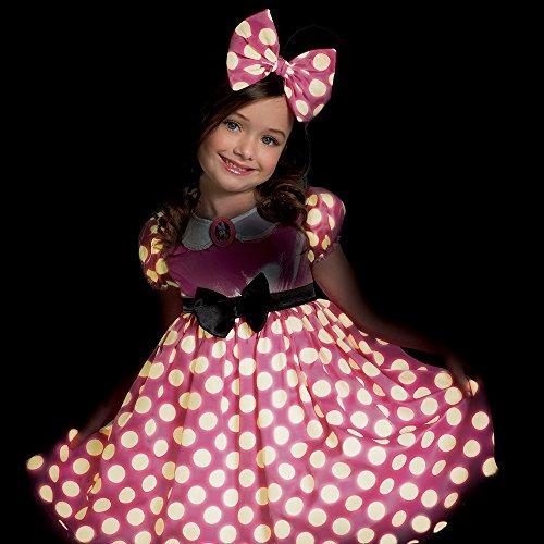 minnie mouse brillan en la oscuridad traje del vestido de p